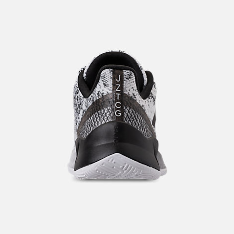Back view of Men's adidas Harden B/E X Basketball Shoes in Cloud White/Core Black/Grey