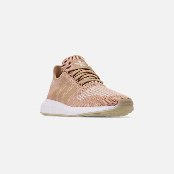 Three Quarter view of Women's adidas Swift Run Casual Shoes in Ash Pearl/Off White/Footwear White