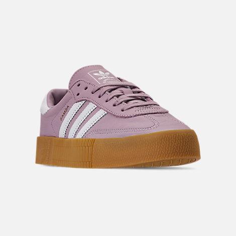 6016bd84a Three Quarter view of Women's adidas Originals Samba Rose Casual Shoes in  Soft Vision/White