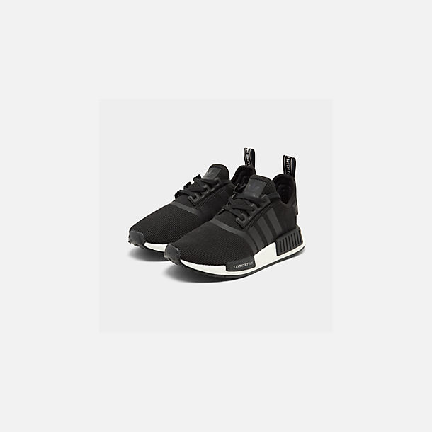 Three Quarter view of Boys' Big Kids' adidas NMD R1 Casual Shoes in Core Black/Core Black/Orchid Tint