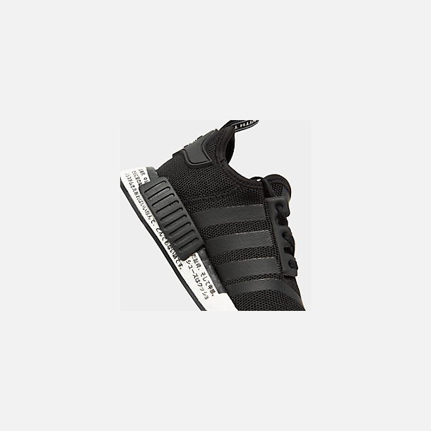 Front view of Boys' Big Kids' adidas NMD R1 Casual Shoes in Core Black/Core Black/Orchid Tint
