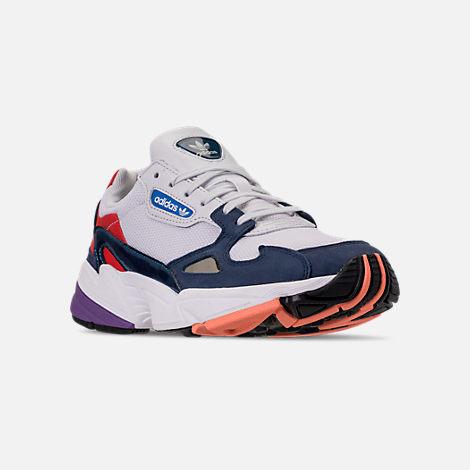 Three Quarter view of Women's adidas Originals Falcon Casual Shoes in Crystal White/Crystal White/Collegiate