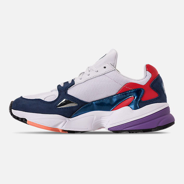 Left view of Women's adidas Originals Falcon Casual Shoes in Crystal White/Crystal White/Collegiate