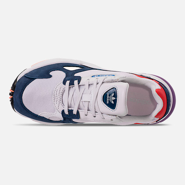 Top view of Women's adidas Originals Falcon Casual Shoes in Crystal White/Crystal White/Collegiate
