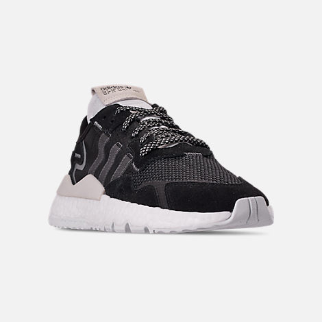 Three Quarter view of Women's adidas Originals Nite Jogger Casual Shoes in Black/Carbon/White