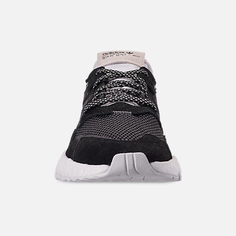 Front view of Women's adidas Originals Nite Jogger Casual Shoes in Black/Carbon/White