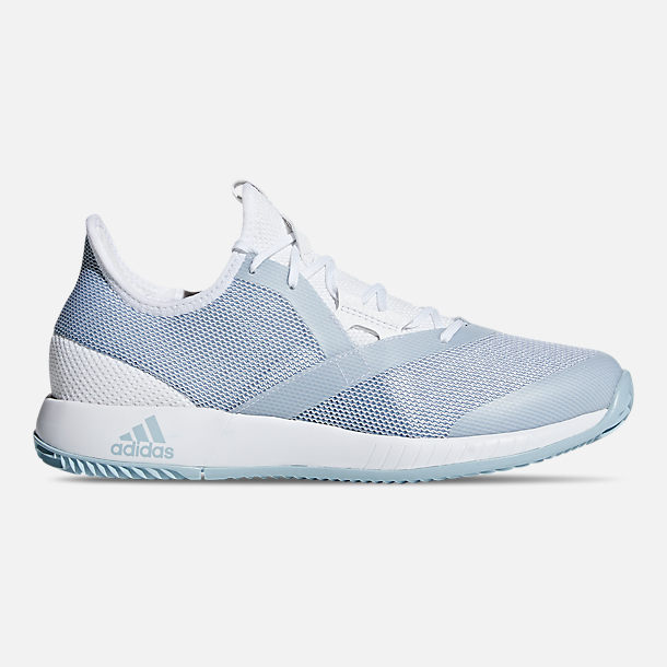 Right view of Women's adidas adizero Defiant Bounce Tennis Shoes in Cloud White/Ash Grey/Cloud White