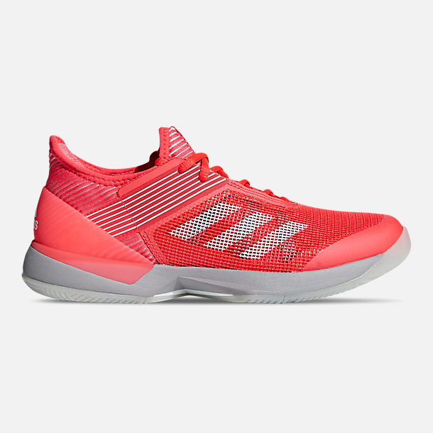 Right view of Women's adidas adizero Ubersonic 3 Tennis Shoes in Shock Red/Cloud White/Light Granite