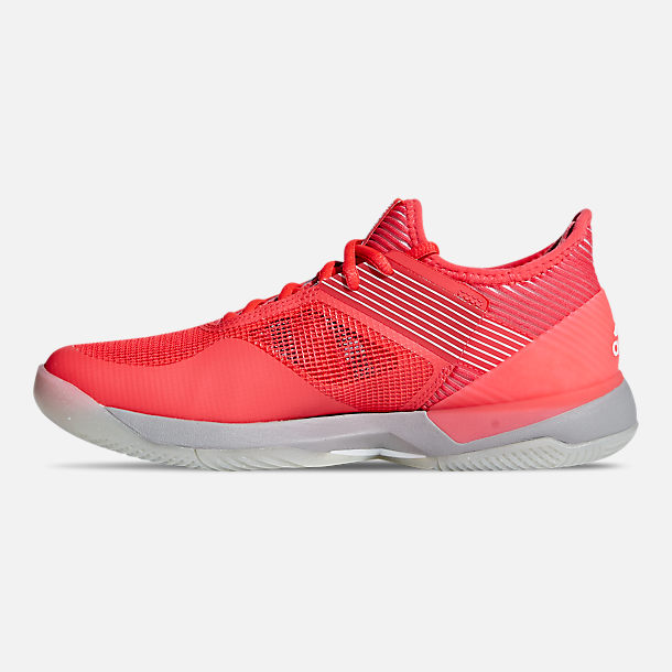 Left view of Women's adidas adizero Ubersonic 3 Tennis Shoes in Shock Red/Cloud White/Light Granite