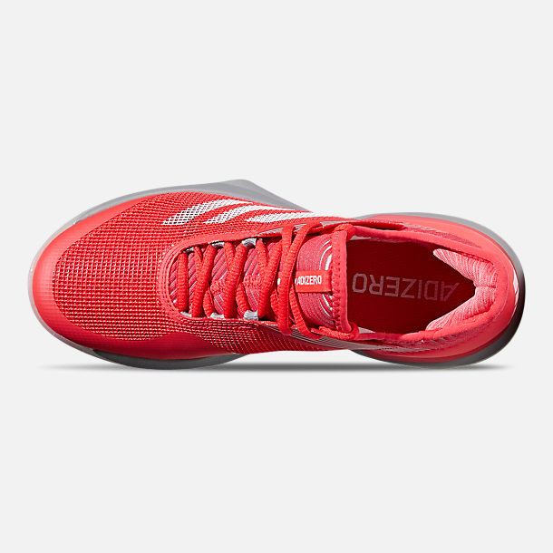 Top view of Women's adidas adizero Ubersonic 3 Tennis Shoes in Shock Red/Cloud White/Light Granite