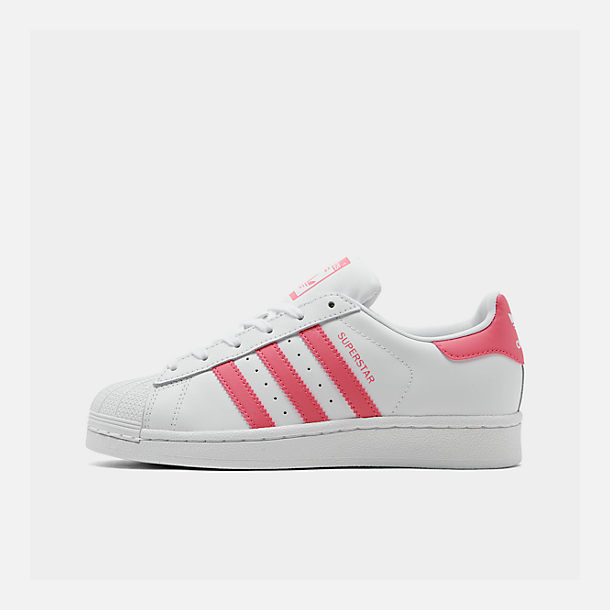 Right view of Big Kids' adidas Superstar Casual Shoes in Cloud White / Real Pink / Real Pink