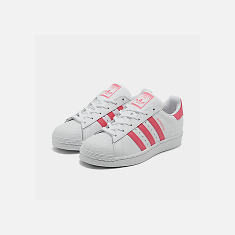 Three Quarter view of Big Kids' adidas Superstar Casual Shoes in Cloud White / Real Pink / Real Pink