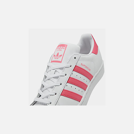 Front view of Big Kids' adidas Superstar Casual Shoes in Cloud White / Real Pink / Real Pink