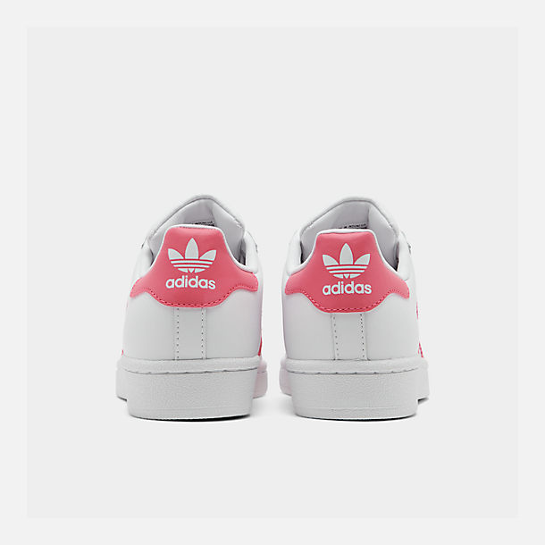 Left view of Big Kids' adidas Superstar Casual Shoes in Cloud White / Real Pink / Real Pink