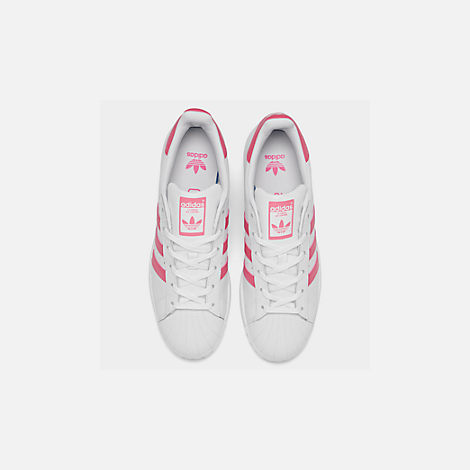 Back view of Big Kids' adidas Superstar Casual Shoes in Cloud White / Real Pink / Real Pink