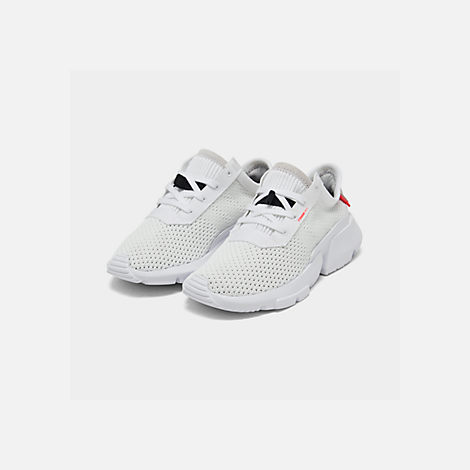 Three Quarter view of Boys' Little Kids' adidas Originals POD-S3.1 Casual Shoes in Footwear White/Shock Red