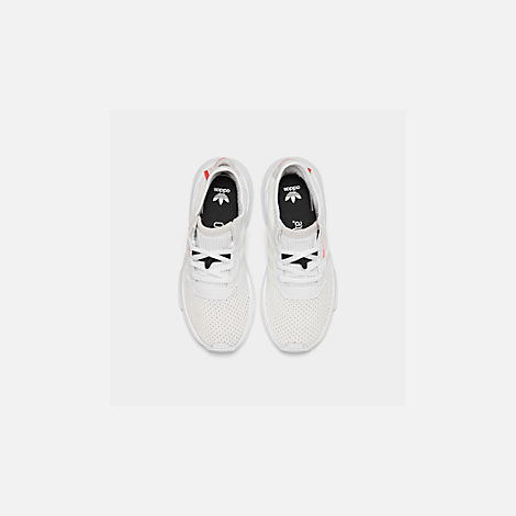 Back view of Boys' Little Kids' adidas Originals POD-S3.1 Casual Shoes in Footwear White/Shock Red