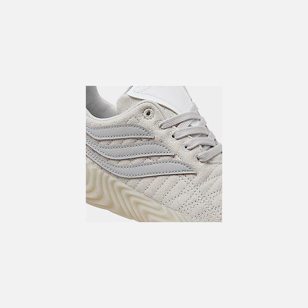 Front view of Boys' Big Kids' adidas Originals Sobakov Casual Shoes in Grey/Grey/White