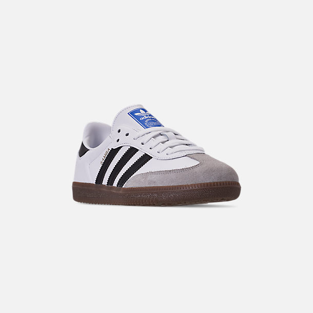 Three Quarter view of Women's adidas Originals Samba OG Casual Shoes in Cloud White/Core Black/Clear Granite