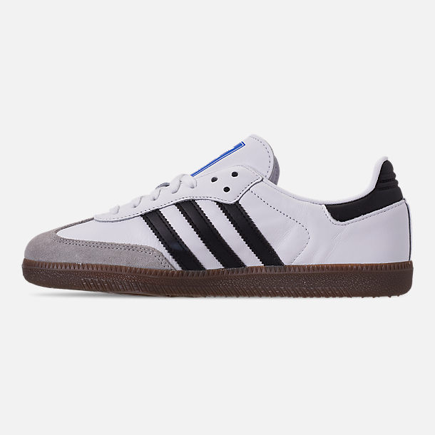 Left view of Women's adidas Originals Samba OG Casual Shoes in Cloud White/Core Black/Clear Granite