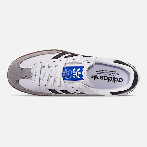 Top view of Women's adidas Originals Samba OG Casual Shoes in Cloud White/Core Black/Clear Granite