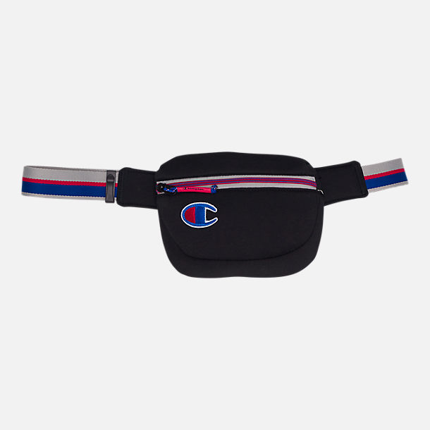 10451deb6330f4 Front view of Champion Attribute Waist Pack in Black Royal Red