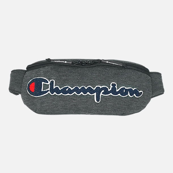 Front view of Champion Prime Script Waist Pack in Dark Grey