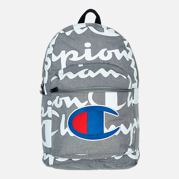 Front view of Champion Supercize 2.0 Backpack in Grey/White Allover Print