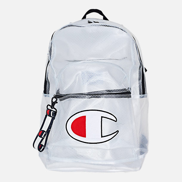 Front view of Champion Supercise Clear Backpack in Clear White