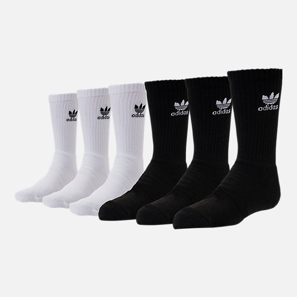 Front view of Kids' adidas Originals Crew Socks - 6 Pack in White/Black