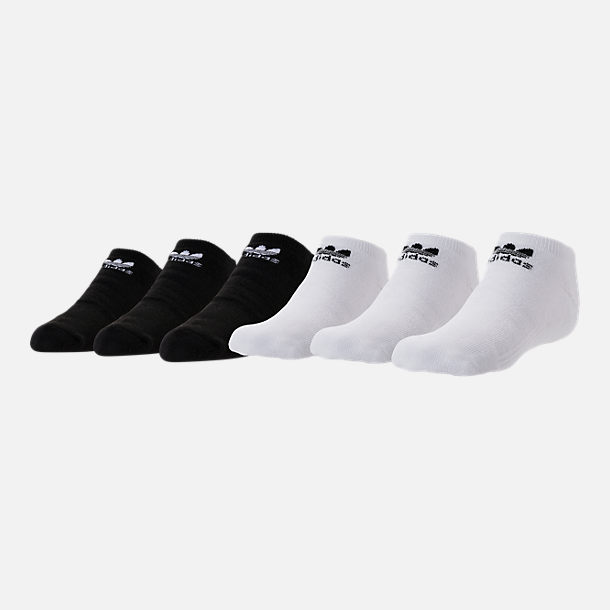 Front view of Kids' adidas Originals No-Show Socks - 6 Pack in White/Black