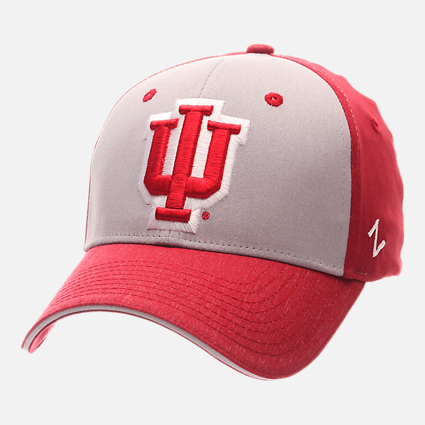 Front view of Zephyr Indiana Hoosiers College Challenger Stretch Fit Hat in Team Colors/Heather