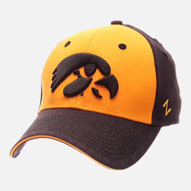 Front view of Zephyr Iowa Hawkeyes College Challenger Stretch Fit Hat in Team Colors/Heather