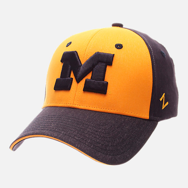 Front view of Zephyr Michigan Wolverines College Challenger Stretch Fit Hat in Team Colors/Heather
