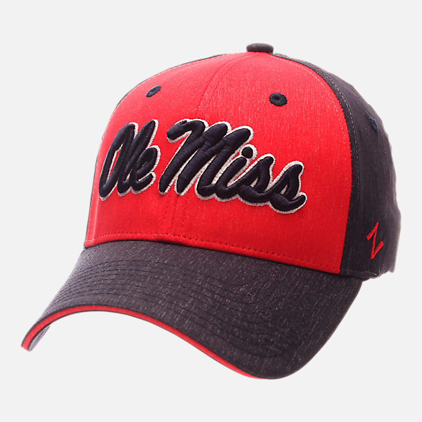 Front view of Zephyr Mississippi Rebels College Challenger Stretch Fit Hat in Team Colors/Heather