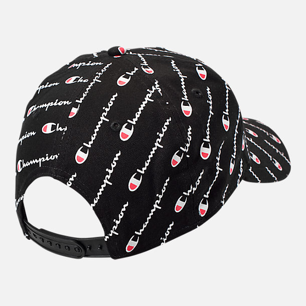 Alternate view of Champion Allover Print Classic Twill Snapback Hat in Black