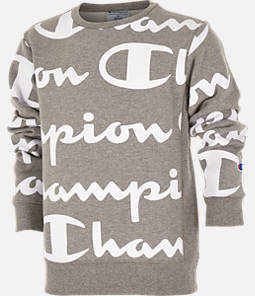 Kids' Champion Reverse Weave Allover Print Large Script Crewneck Sweatshirt