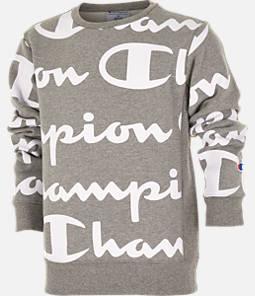 Kids' Champion Reverse Weave Allover Print Large Script Crewneck Sweatshirt