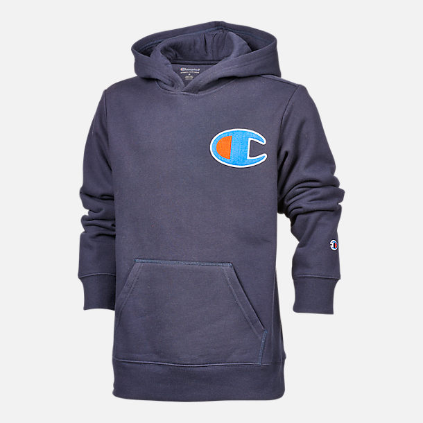 Front view of Boys' Champion Heritage LBR Hoodie in Navy