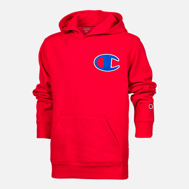 Front view of Kids' Champion Heritage LBR Hoodie in Scarlet