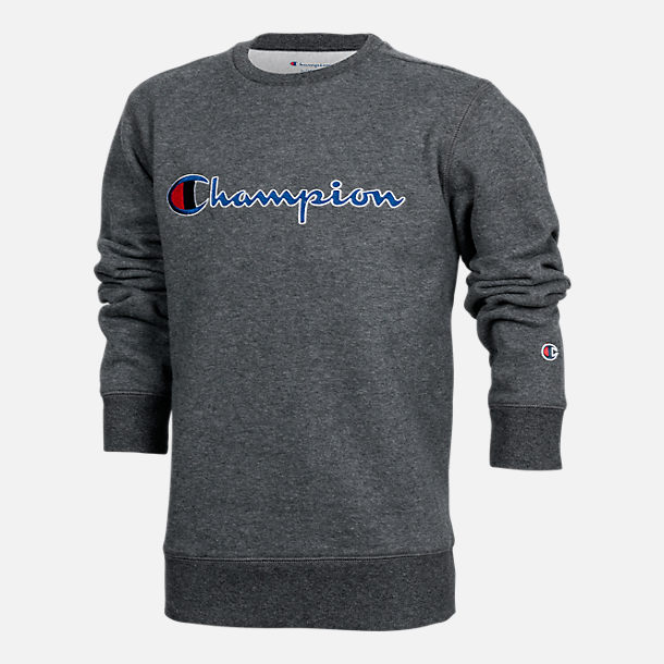 Front view of Kids' Champion Heritage Crew Sweatshirt in Grey