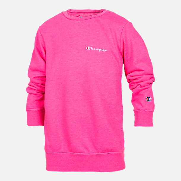 Front view of Girls' Champion Heritage Small Script Crew Sweatshirt in Pink