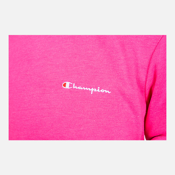 Back view of Girls' Champion Heritage Small Script Crew Sweatshirt in Pink