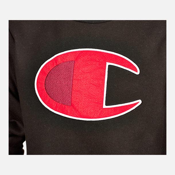 c4f6980548d5 Back view of Kids  Champion Big C Crew Sweatshirt in Black Scarlet