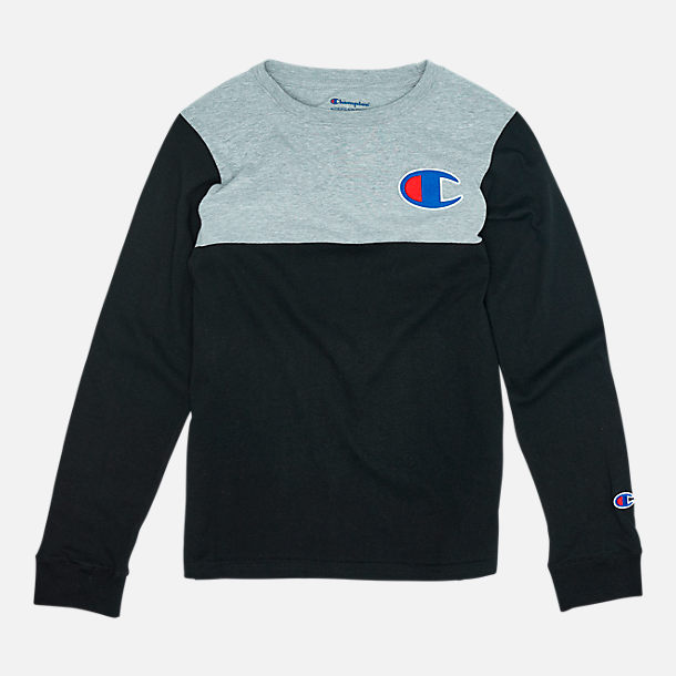 Front view of Boys' Champion Colorblock Long-Sleeve Shirt in Black/Grey