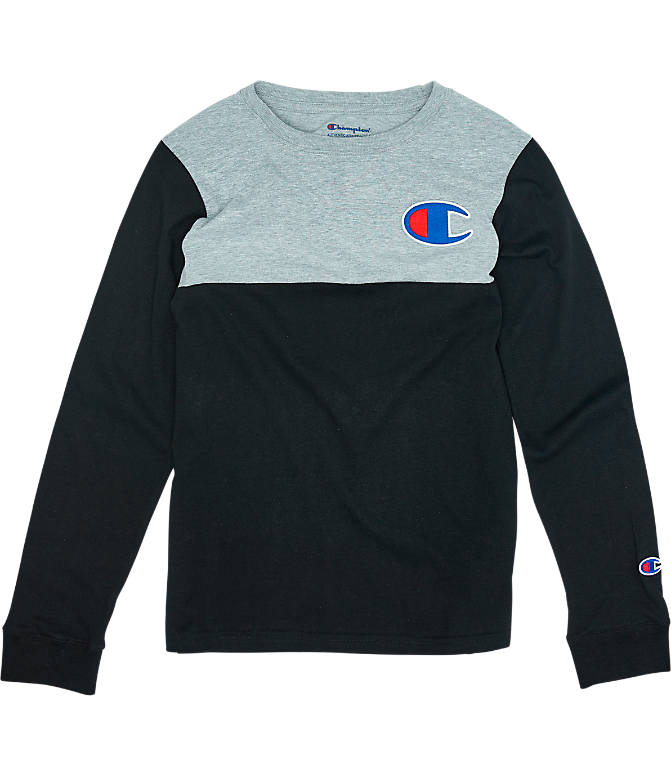 1ba55993 Front view of Boys' Champion Colorblock Long-Sleeve Shirt in Black/Grey