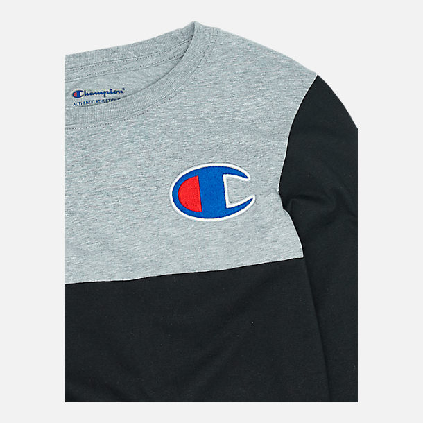 Back view of Boys' Champion Colorblock Long-Sleeve Shirt in Black/Grey
