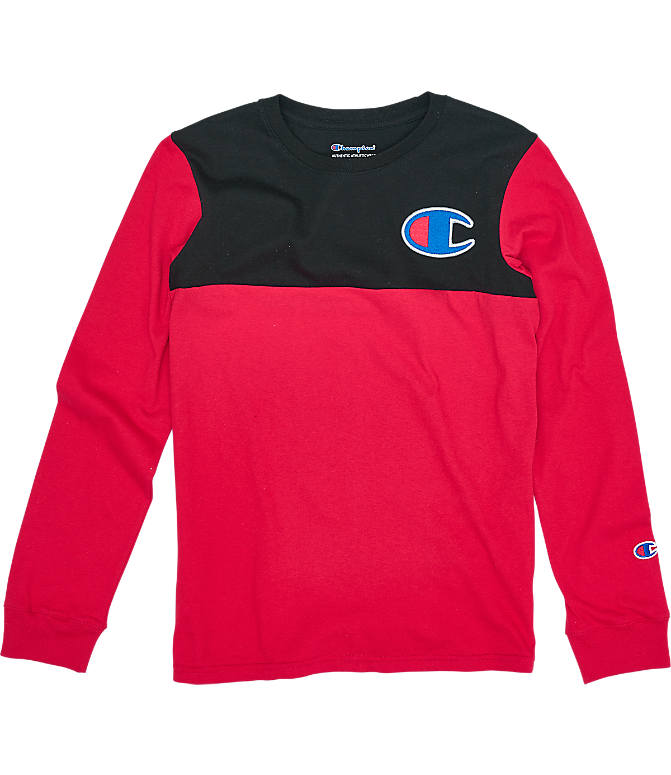 Front view of Boys' Champion Colorblock Long-Sleeve Shirt in Scarlet/Black