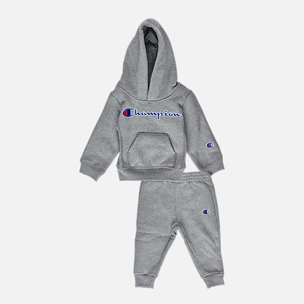 Front view of Infant Champion Heritage 2-Piece Hoodie and Joggers Set in Heather Grey