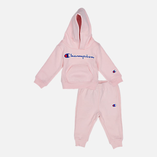 Front view of Infant Champion Heritage 2-Piece Hoodie and Joggers Set in Chalk Pink